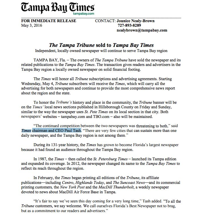 News update: Tampa Bay Times purchases The Tampa Tribune
