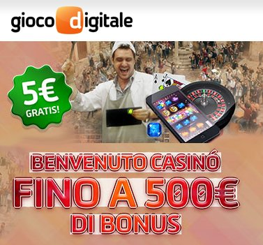 Slot machine - 5€ bonus senza deposito su GiocoDigitale