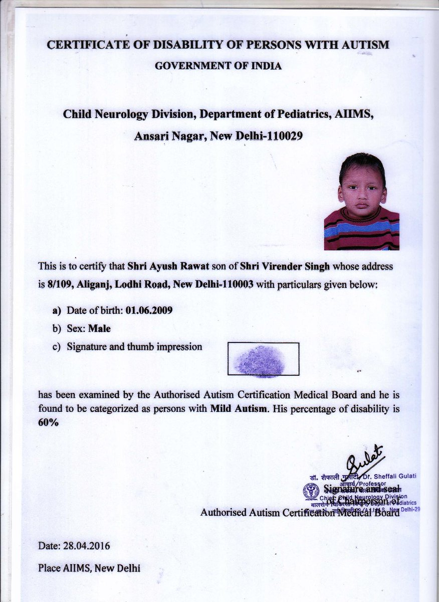 Disability affairs on twitter ayush rawat 1st recipient of disability affairs on twitter ayush rawat 1st recipient of certificate after goi guidelines for certification of autism were notified on 26416 1betcityfo Gallery