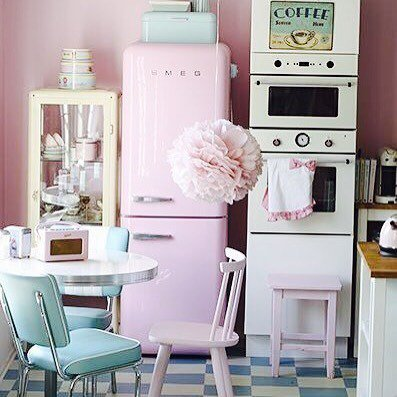Pastel Retro Vintage Aesthetic Tumblr Cute Kitchen Babyblue Babypink 50s 60s Pastelshades Ppictwitter NyuVoo2HPw