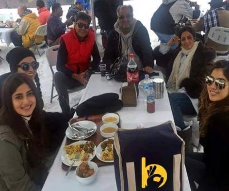 Adnan Siddiqui and Sajal Ali  on the sets of Mom with Sridevi image-picture