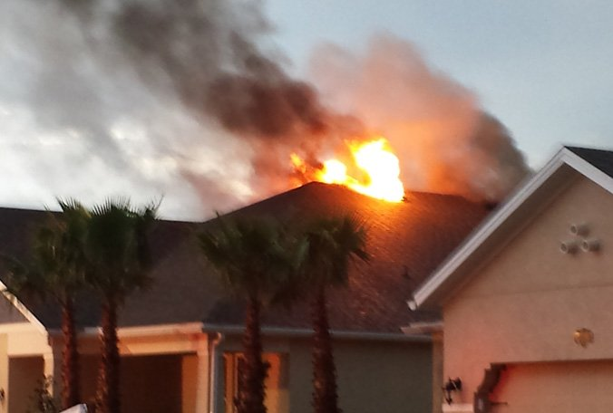 Lightning strike ignites fire at Pasco County home