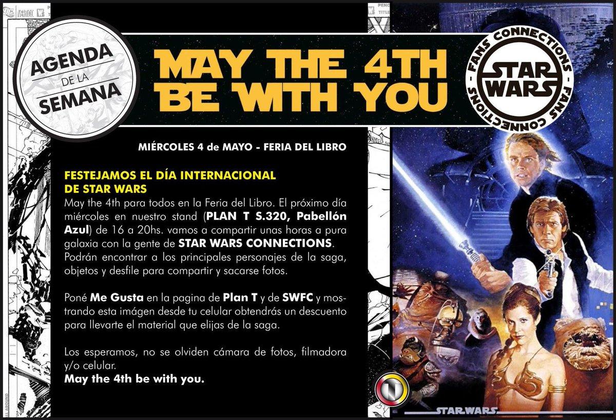 Va mas claro. Hoy festejamos May the 4th con todo, junto con la gente de Star Wars fans Connections. #FeriadelLibro https://t.co/ZsUBfn4faW