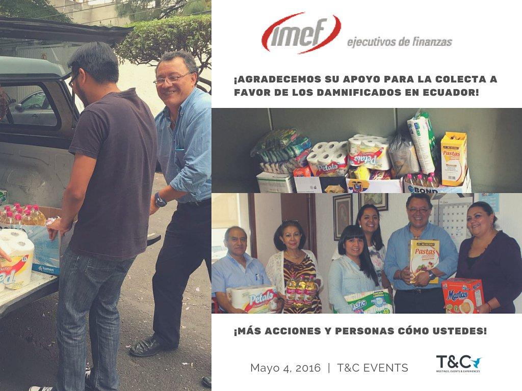 ¡Un aplauso a nuestros amigos de @IMEFOficial 👏, por sumarse a la colecta en apoyo a los damnificados en #Ecuador! https://t.co/mMutjUlV44