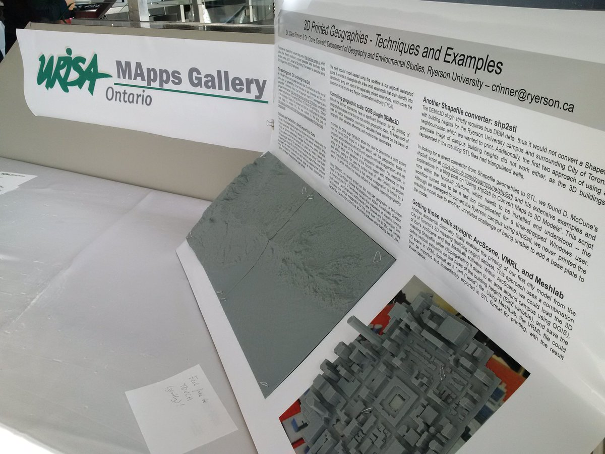 """This """"poster"""" is generating quite a bit of interest at #BeSpatial 2016 - 3D Printed Geographies with @clairejoswald https://t.co/31QkYaplg7"""
