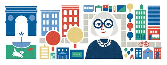 Today's @google Doodle celebrating #JaneJacobs is lovely, though missing a critical element: *people*. https://t.co/nv5sxBcfi8