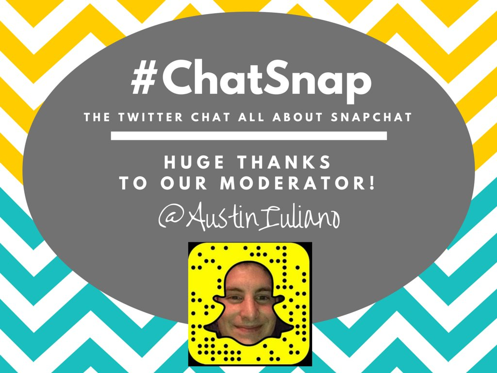 Say hi to today's #ChatSnap moderator, @AustinIuliano! He's the guy RTing & engaging like crazy for the next hour! https://t.co/9rIQ1uwy1c