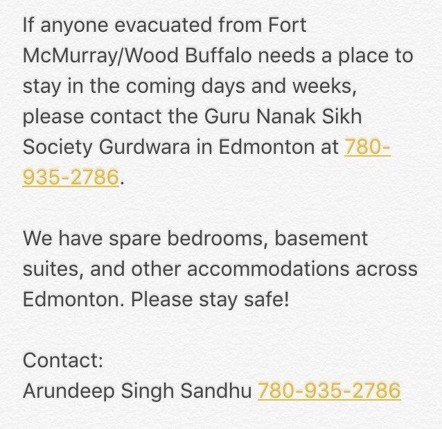 Guru Nanak Sikh Society Gurdwara in Edmonton is open to any1 for shelter or food.   #FortMcMurray #FortMacFire https://t.co/LDO6Y5fgoE