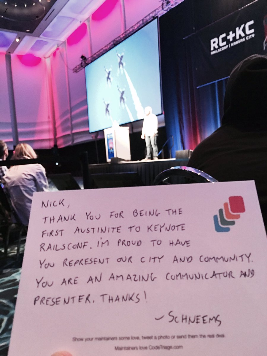 Btw @nmeans is amazing and giving a great keynote #railsconf #austin https://t.co/OIvkwN0zYM