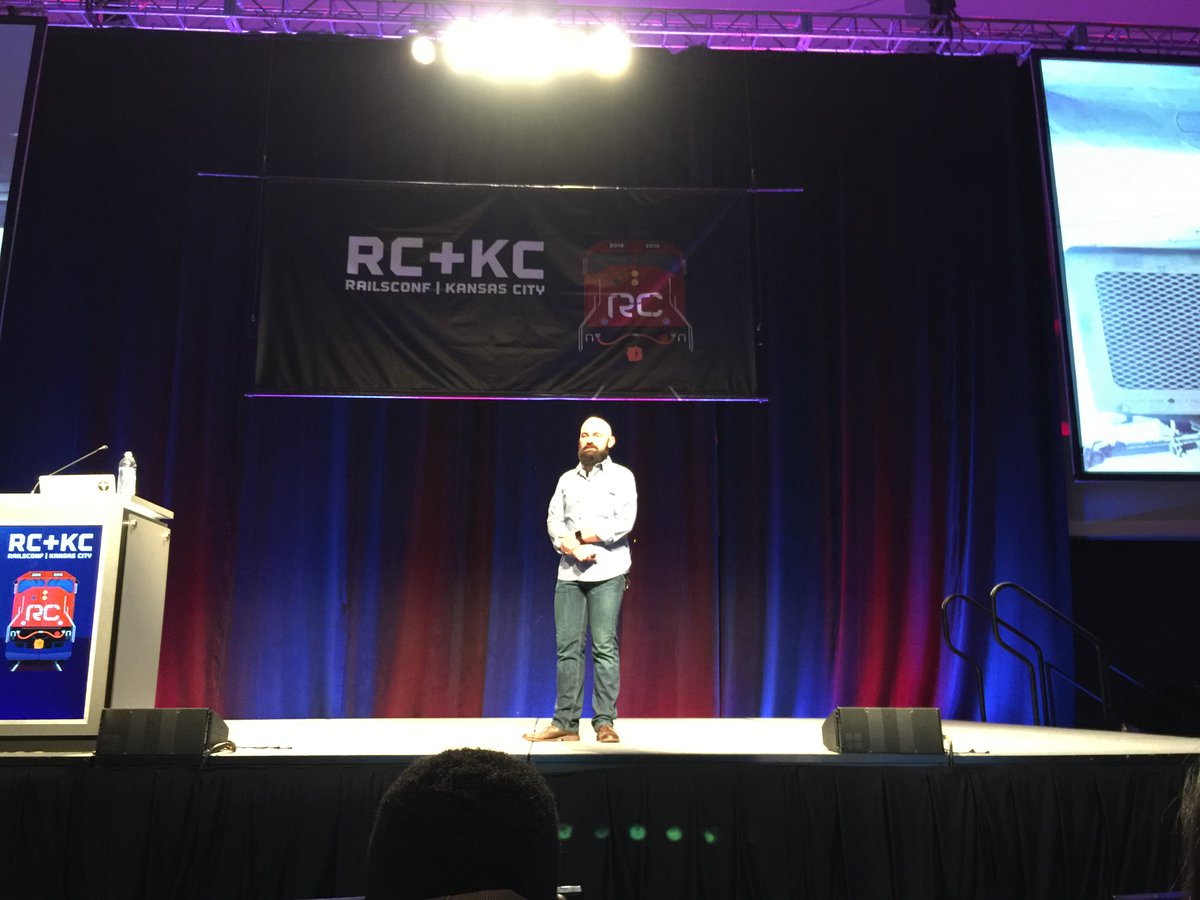 This is @nmeans delivering an absolutely amazing keynote at #railsconf. I am unsurprised. 👍🎉💯 https://t.co/Dh6sgSeoCm
