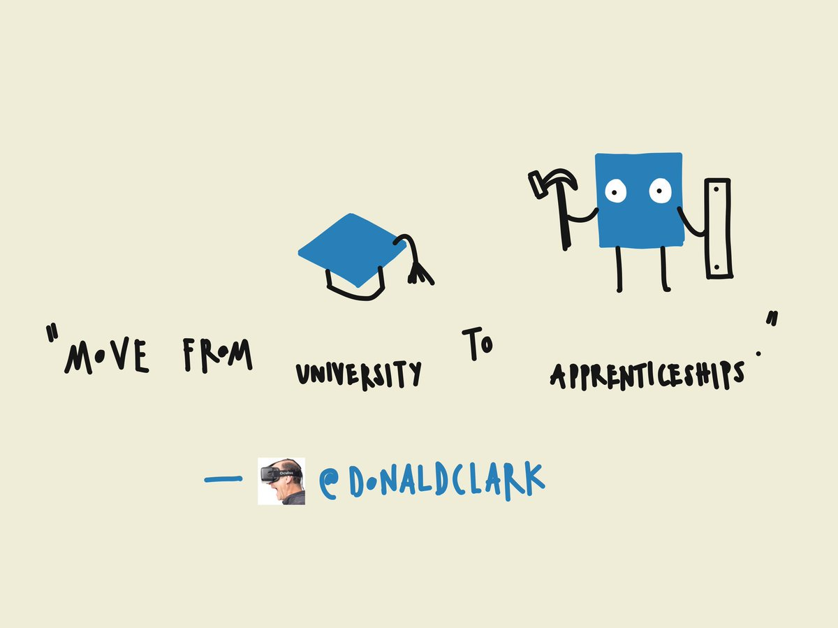Move from university to apprenticeships @DonaldClark #AITD2016 https://t.co/S11mIleTS2