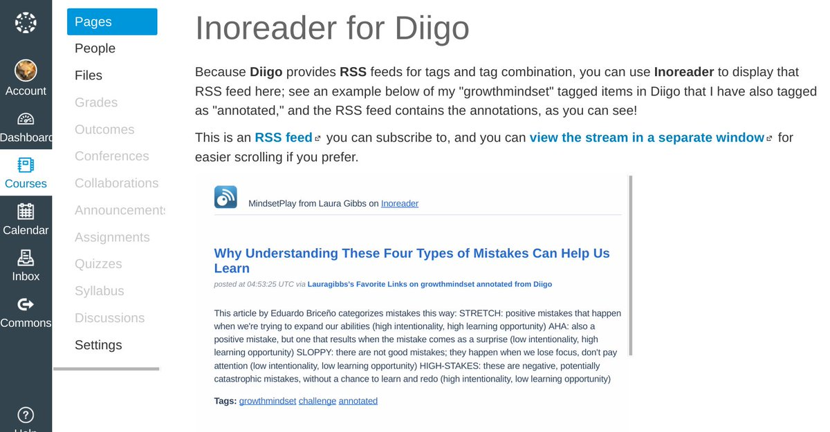 Since Diigo in Canvas was awkward, I used @Inoreader +Diigo; that's more readable! https://t.co/EZcyNvs9De #OU_LMS16 https://t.co/Y3VTWWtJvU