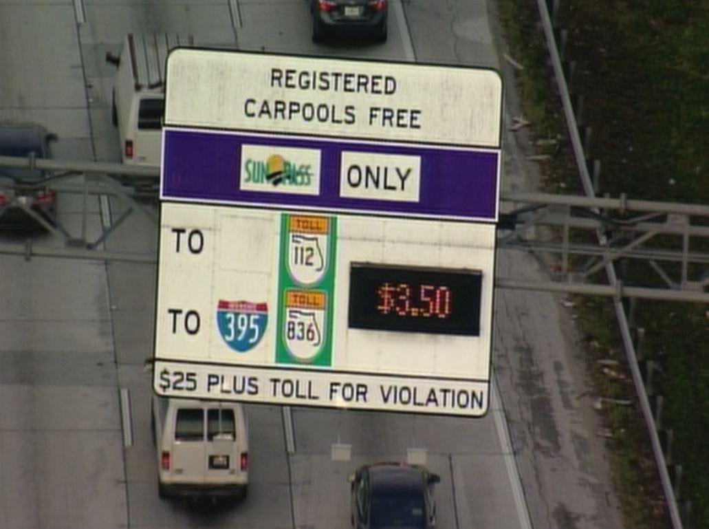 I-95 express lanes- tolls at $3 50 #traffic #miami