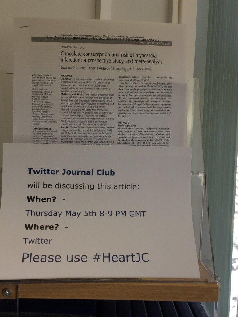 Local advertising for #HeartJC tonight. Twitter journal club https://t.co/fSXOSeXM3u