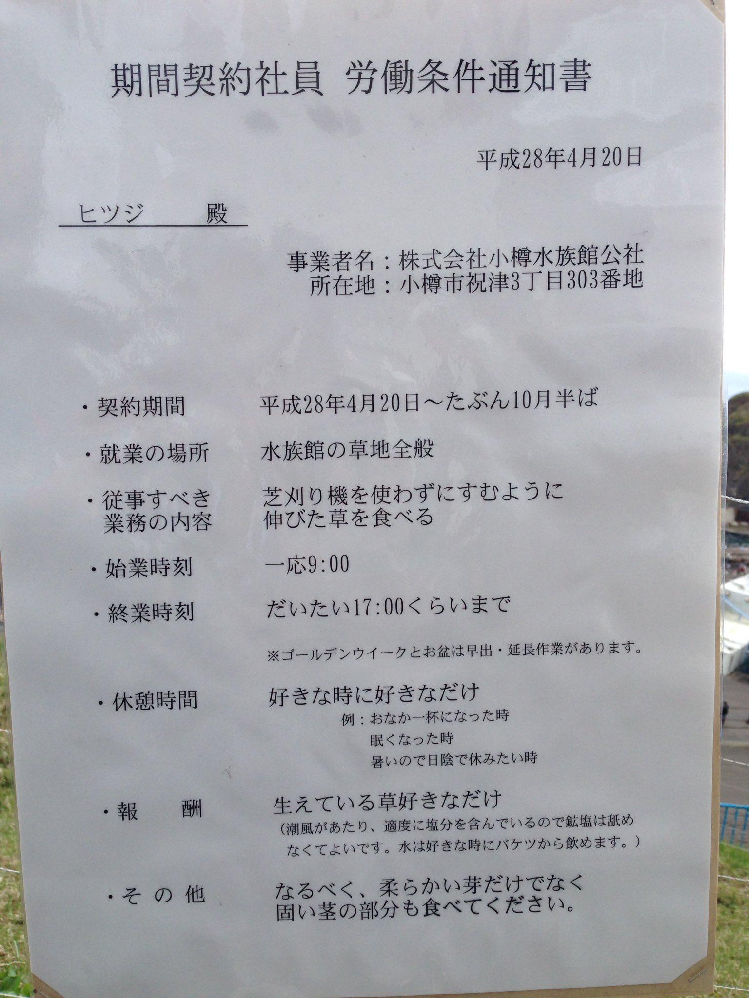 家族サービスで小樽水族館に行ったら羊が草食っててさ 見たら労働条件が掲載されててコーヒー噴いた
