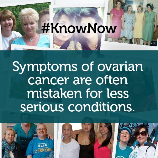 Bloating, cramping & frequent urination are a few examples. Learn the  #ovariancancer symptoms to #KnowNow! https://t.co/YONzmca3Iz