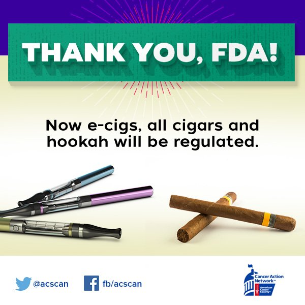 Good news! Cigarettes are regulated now e-cigs, all cigars to be regulated too! TY @FDATobacco for keeping kids safe https://t.co/6oSYUjVPj6