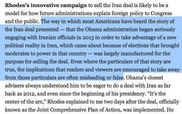 Incredible. In his NYT profile, Ben Rhodes quite literally brags about lying to the public about the Iran deal. https://t.co/nzdp67lgh2