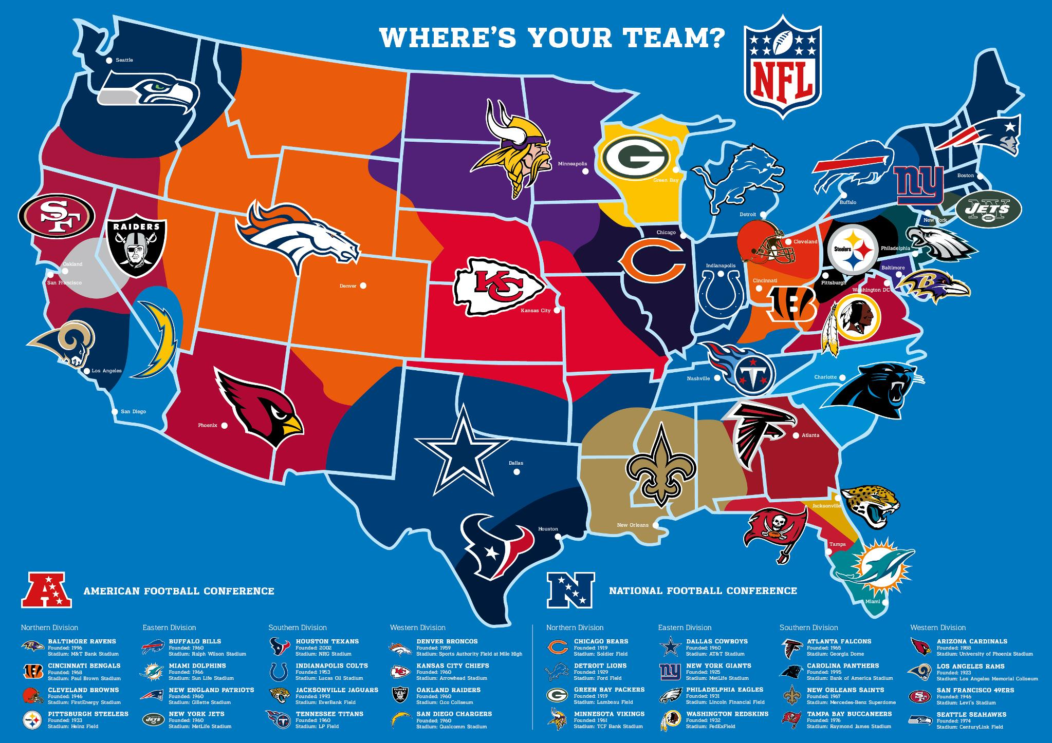 Us Football Map - Nfl team us map