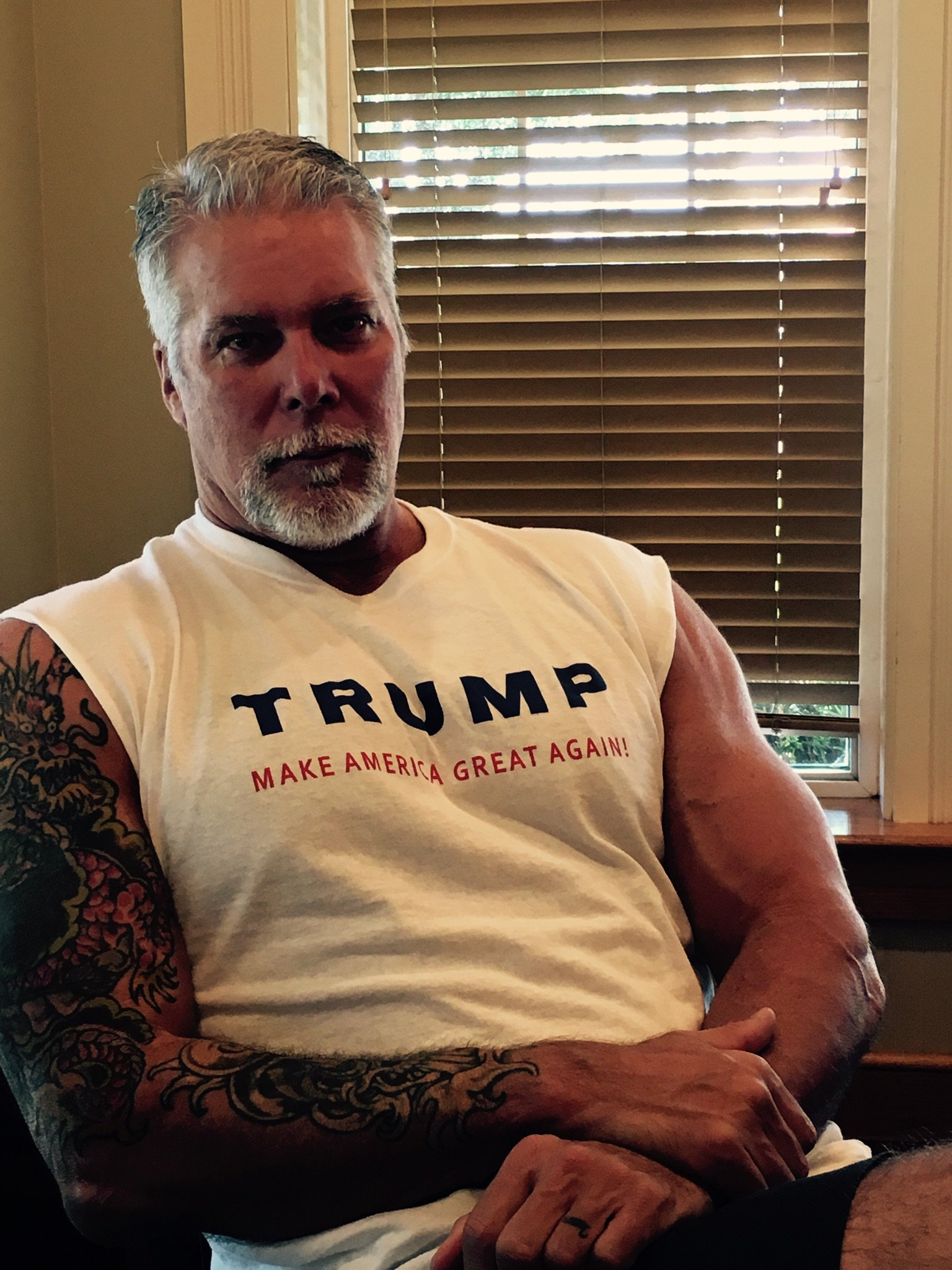 "6'10"" ex-WWE pro wrestler Kevin Nash sports a Donald Trump T-shirt"