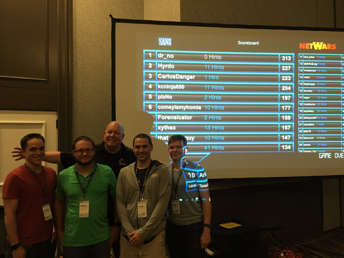 Congratulations to all of the winners at @sansforensics DFIR NetWars #SecurityWest https://t.co/3uYcRn33EL
