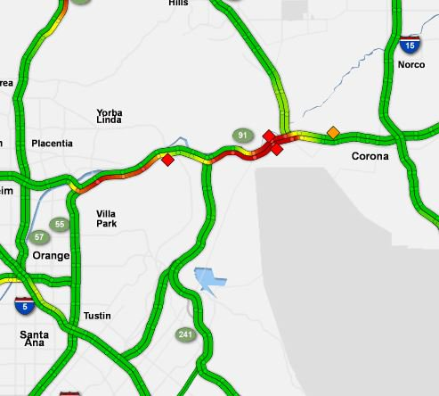 Knx 1070 Traffic Map.Update Eb 91 Freeway Closed West Of Corona For Pursuit Standoff