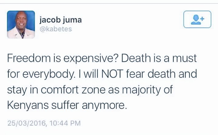 Systematic assassinations is the most extreme form of censorship from the powers that be. #RIP Jacob Juma @Kabetes. https://t.co/YQP1002YeA