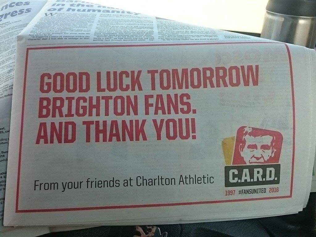 Thanks Charlton! #cafc #bhafc #fansunited #Championship https://t.co/Dx8njt5Je5