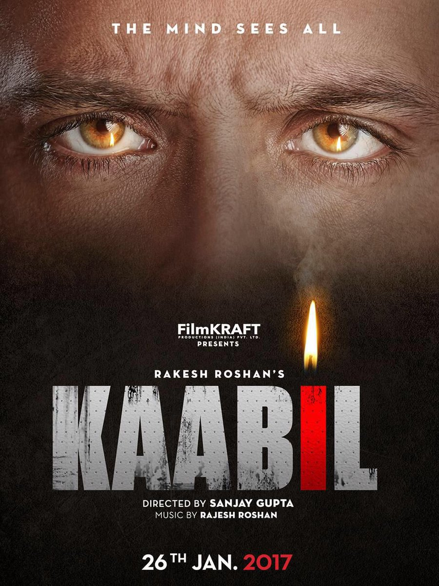 First Look Official Poster Of Kaabil starring Hrithik Roshan, Yami Gautam