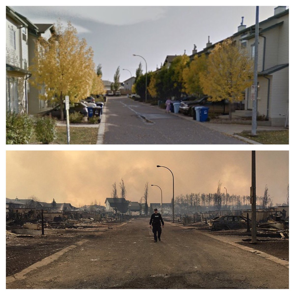 Fort McMurray then & now. Thanks to @googlemaps (2013) & @RCMPAlberta. #ymmfire https://t.co/lTFsKIvN5m