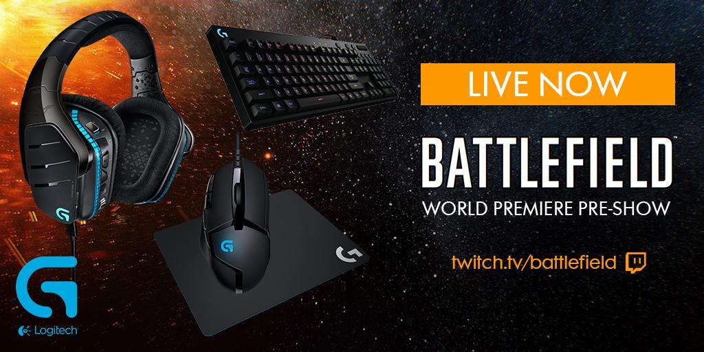 Still LIVE on the #Battlefield World Premiere Pre-Show. Want a Logitech G bundle? RT now! http://bit.ly/1Weo6Gu