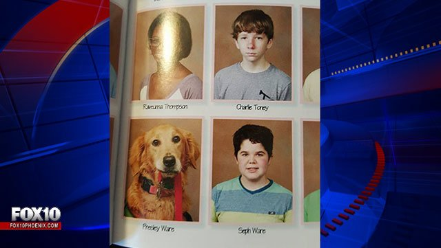 Awesome! A Louisiana high school has included a headshot of service dog in their yearbook.