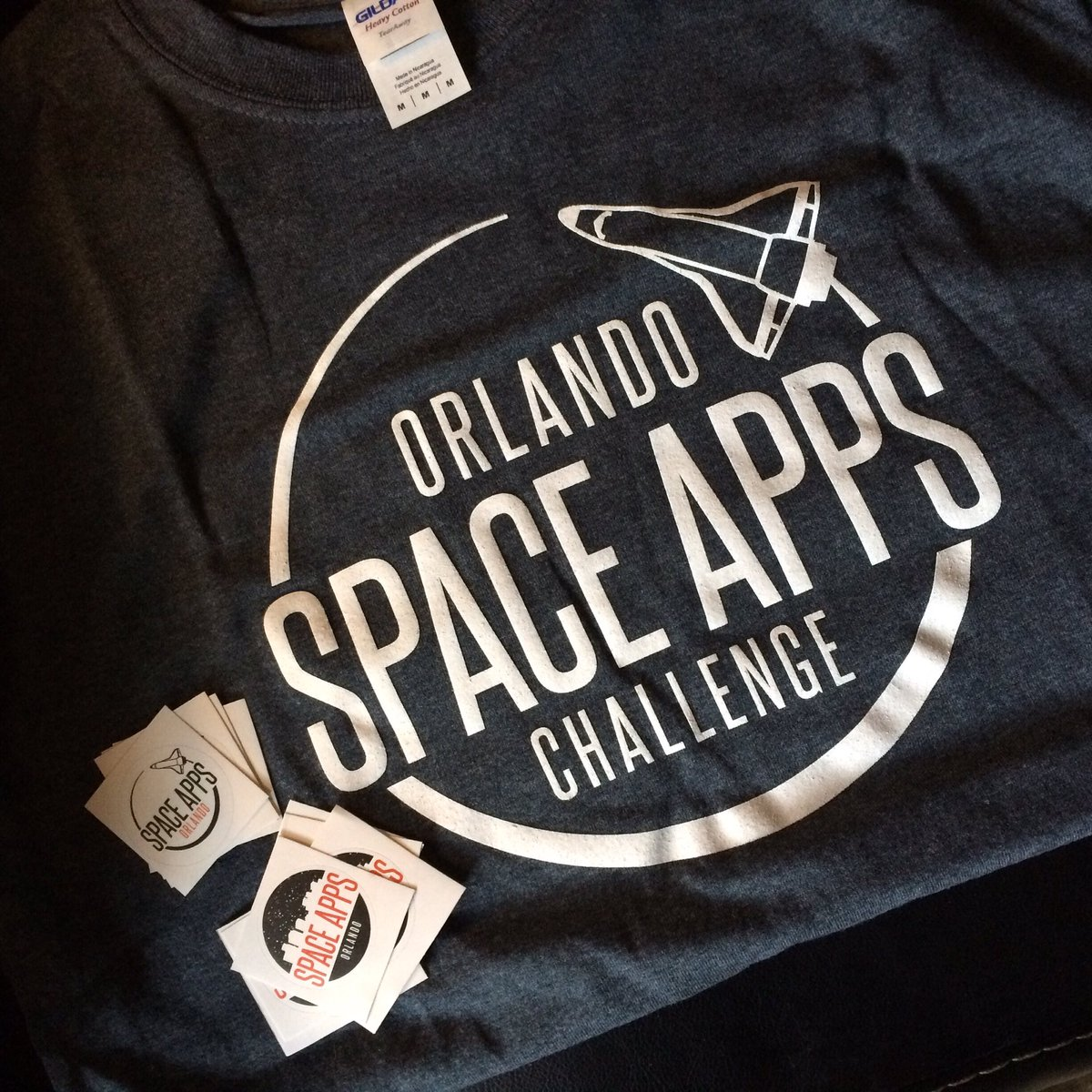 Just got a swag bag of T shirt and stickers of the logo I designed for @SpaceAppsORL thank you @qui_valere_est !! 😄 https://t.co/Exlqmn3IMd