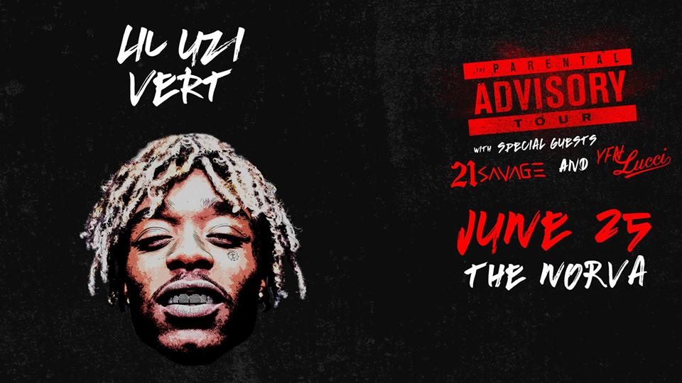 #JustAnnounced @LILUZIVERT w/ @21savage & @YFNLUCCI at #TheNorVa on 6/25! Info: https://t.co/5e9TleYPA9 https://t.co/DiB5i61OVz
