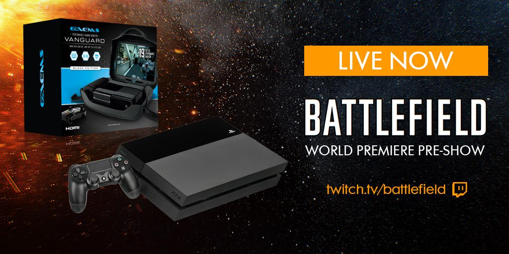 BF3 on the #Battlefield World Premiere Livestream. Want a GAEMS Vanguard with a PS4? RT now! http://twitch.tv/battlefield