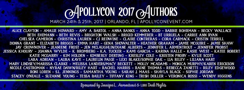 ***Flails at the awesome!*** @ApollyCon 2017! Orlando, FL. Check out this a fab list! Don't miss this amazing event! https://t.co/9n1wM3oSGu