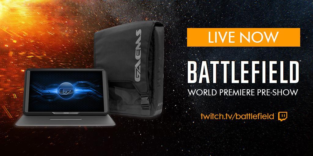 #Battlefield World Premiere Pre-Show is LIVE. Want a GAEMS M-155 & Backpack Bundle? RT now http://twitch.tv/battlefield