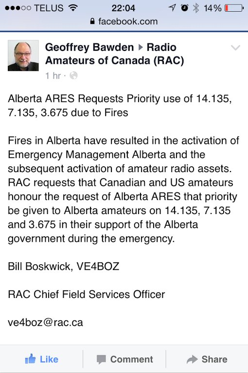 Amateur Radio Operations may be on 14.135, 7.135, and 3.675 mHz  https://t.co/yu1uKfMduA #ymmfire #hamradio #ARRL https://t.co/vRfiVQSbdF