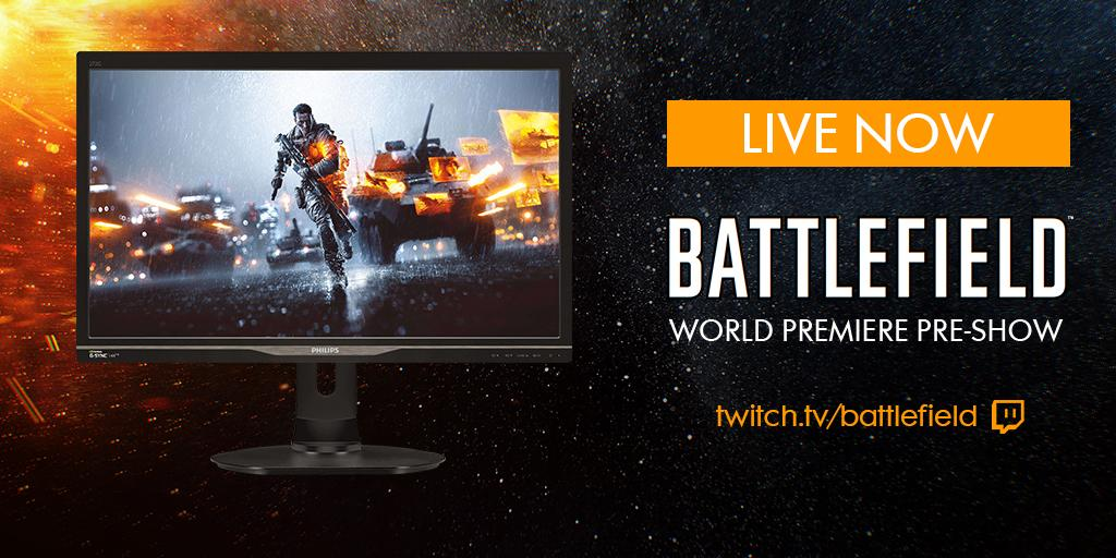 Talking BFHardline on #Battlefield World Premiere Pre-Show. Want a Philips 27-Inch G-Sync 144hz Monitor? RT now!