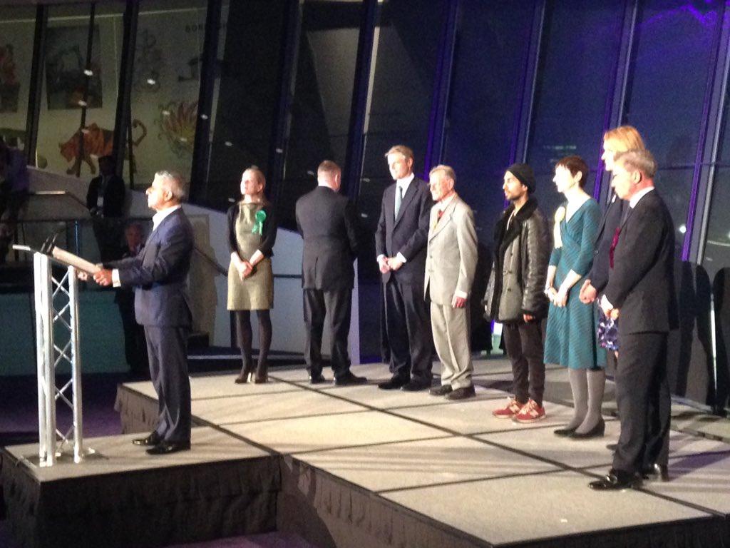 Britain First candidate turns his back on new mayor of London Sadiq Khan during his winner's speech https://t.co/gAcwQjlcgp