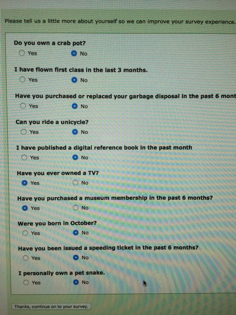 My husband does online surveys to get gift vouchers. This was the set of qualifying questions for one of them https://t.co/I5JstU5d2L