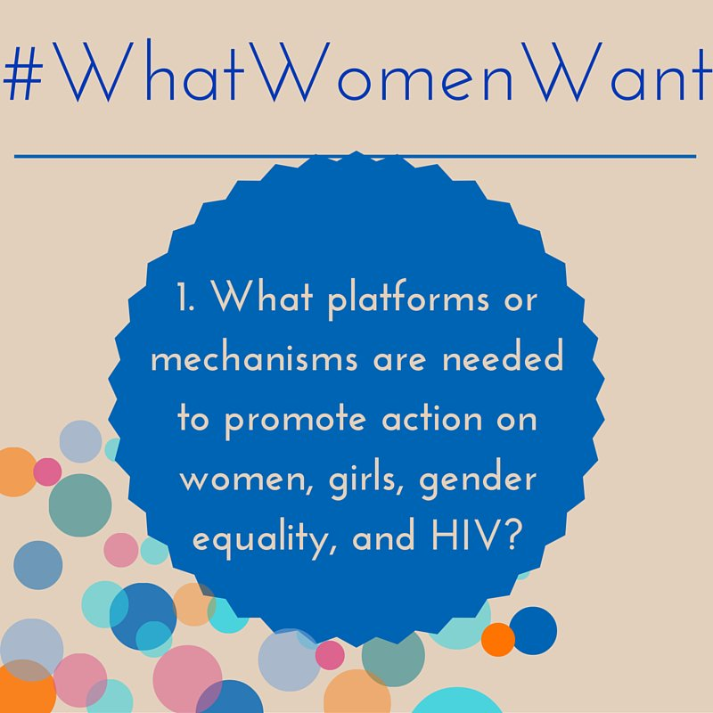 1.What kind of platforms/mechanisms are needed to promote action on #HIV& #genderequality? #WhatWomenWant @worldywca https://t.co/jOB37Blhlf