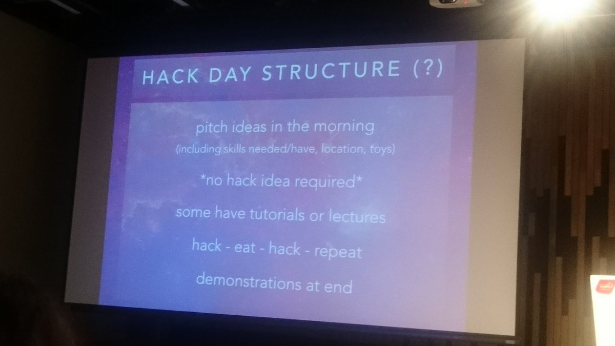 .@astropixie demonstrating possible structure of Hack Day. Eating included :-) #CAP2016 https://t.co/o1SIZrFX3Y
