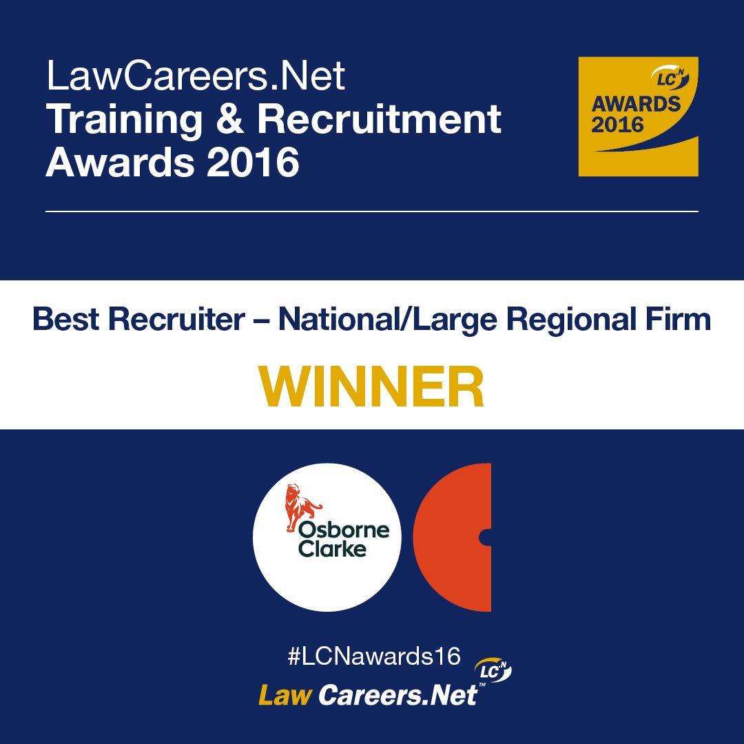 The winner of Best Recruiter - National/Large Regional Firm is... Osborne Clarke! #LCNawards16 https://t.co/HgmLaAoUIU