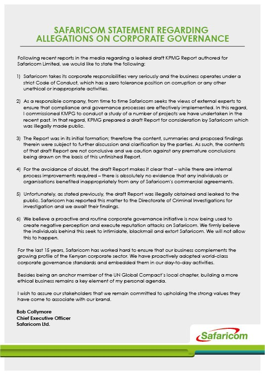 Following recent media reports regarding a leaked draft KPMG report authored for Safaricom Ltd, we'd like to state: https://t.co/nn7fLpQsHi