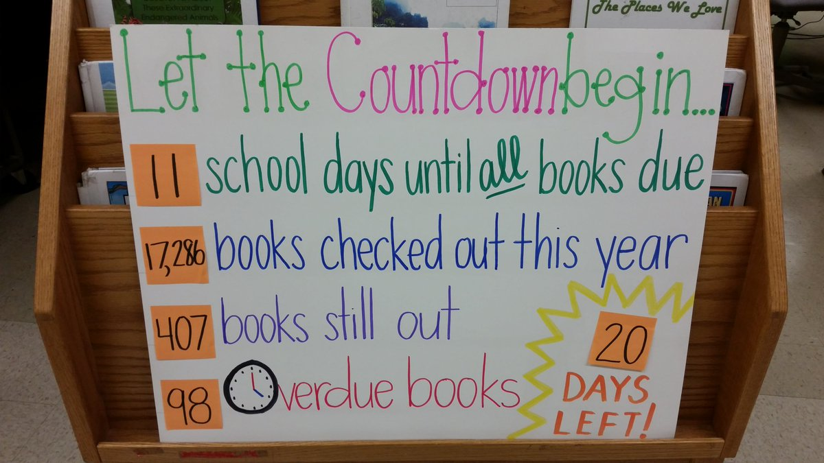 Can you believe it?! Books are due back June 3rd! 📚❤ #library stats #welovebooks #bcpsLMS https://t.co/bChFEBlZq4