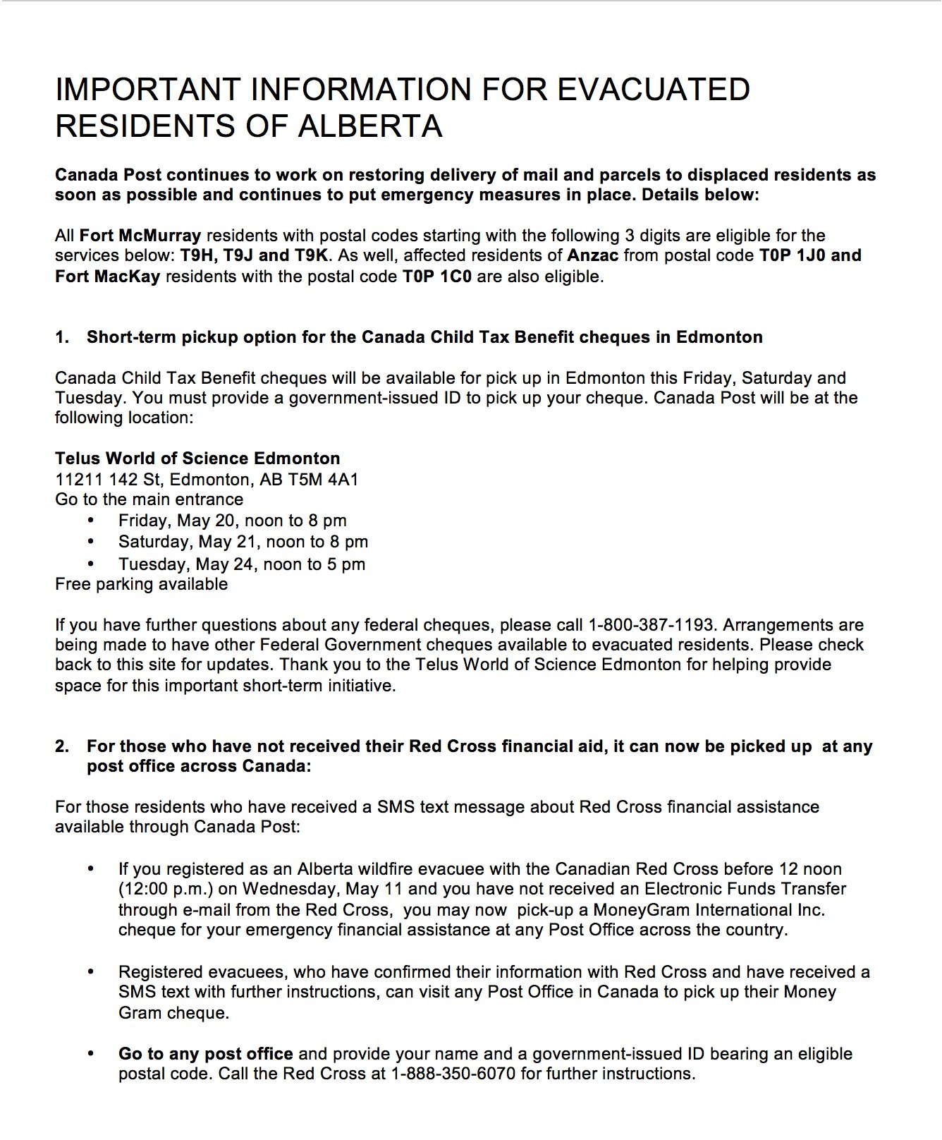 """Canada Post on Twitter: """"Information for evacuated residents of  #FortMcMurray #FortMcCay #Anzac #Alberta https://t.co/O4Yk4E6pX5  #FortMacFire… """""""