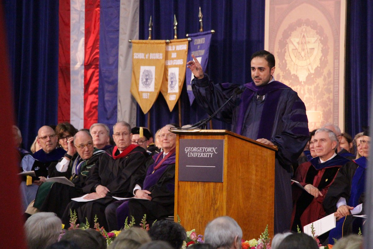 """Georgetown SFS on Twitter: """"Commencement began w/ Senior Convocation! Great to have Maher Bitar @GUAlumni'06 as speaker+Matthew Quallen SFS'16!… """""""