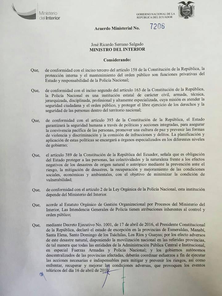 Suspenden actividades de diversi n solo en zonas afectadas for Ministerio del interior ecuador telefonos