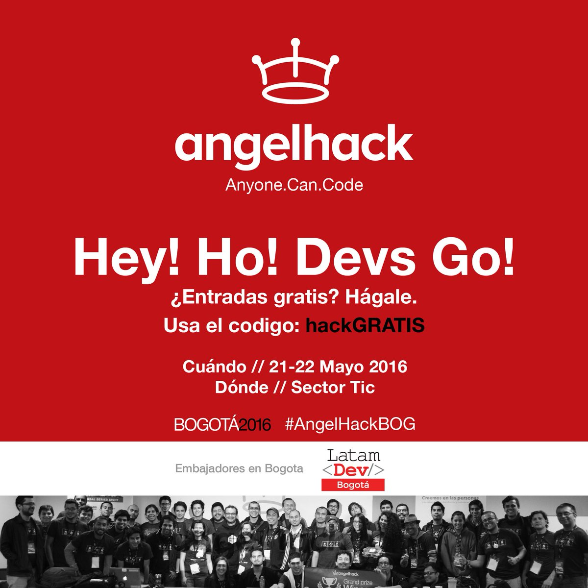 "¡Hey Devs! @AngelHack #Bogota se vino con todo este fds ¡entradas gratis! https://t.co/xxCud7PEc9 Usa: ""hackGRATIS"" https://t.co/ObEi4vWA3H"